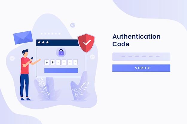 Twee stappen verificatie illustratie plat ontwerp. illustratie Premium Vector