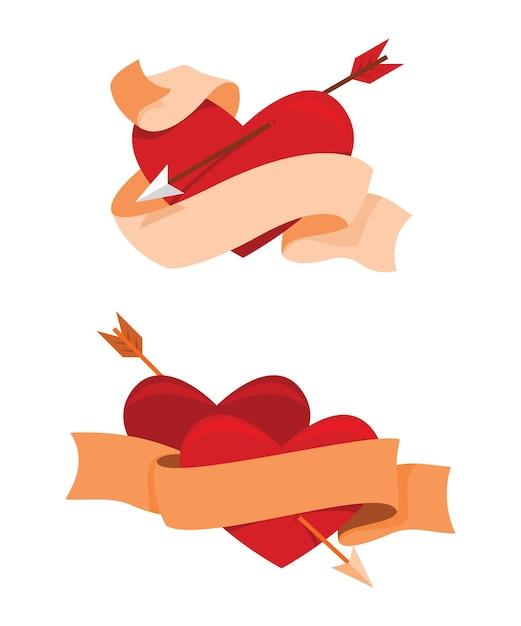 Twee stijlen van lint en hart is steken door pijl voor de valentijnsdecoratie. Premium Vector