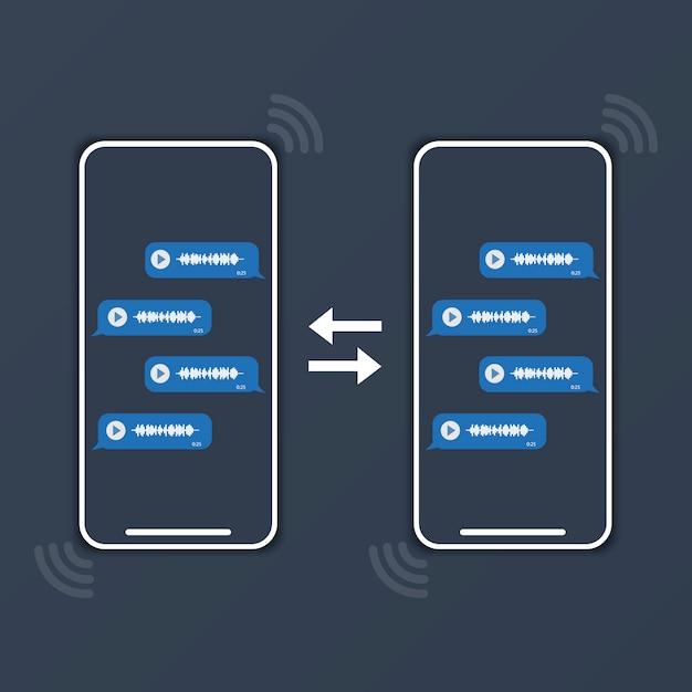 Twee telefoons wisselen spraakberichten uit Premium Vector