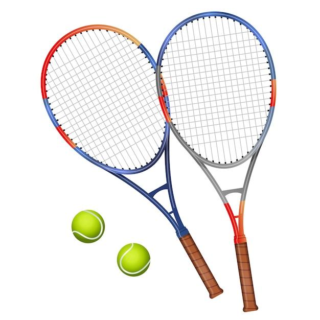 Twee tennisrackets en twee ballenillustratie Premium Vector