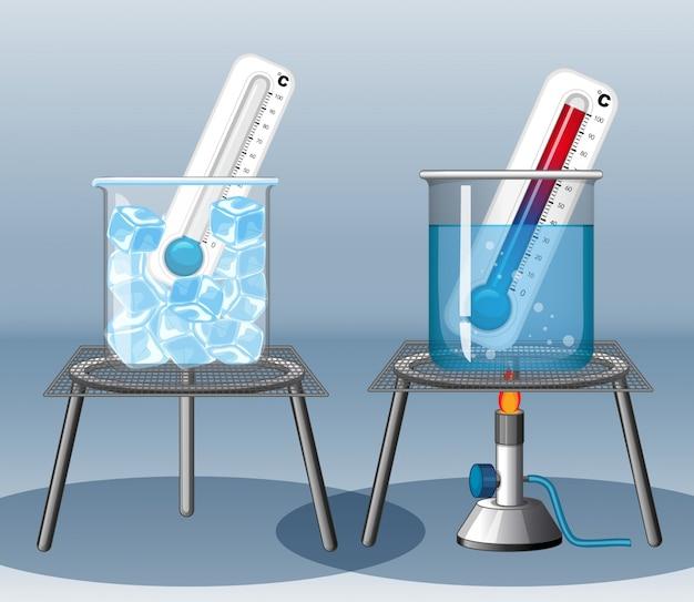 Twee thermometers in warm en koud water Gratis Vector
