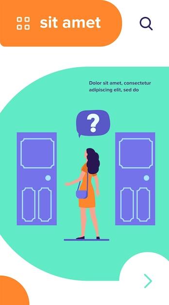 Twee toegangskeuze. vrouw met vraagteken kiezen tussen twee deuren platte vectorillustratie Gratis Vector