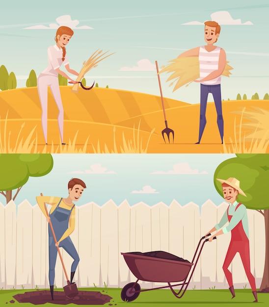 Twee tuinman boer cartoon mensen composities instellen Gratis Vector