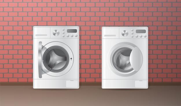 Twee vector realistische witte lege automatische wasmachine Premium Vector