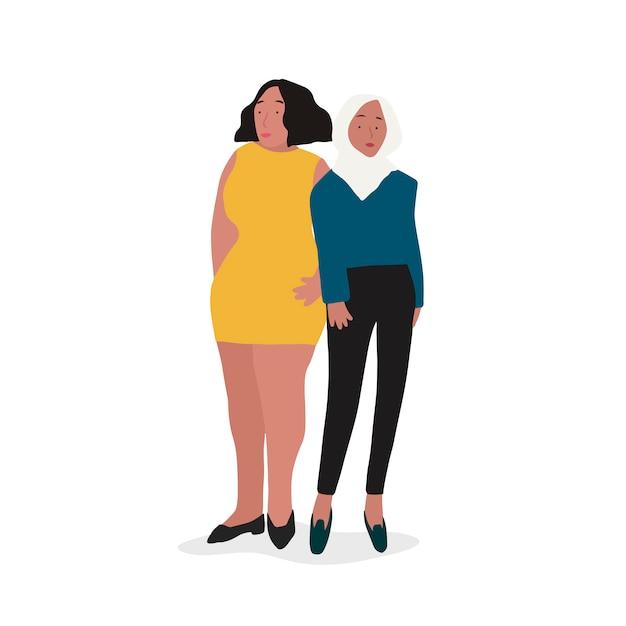 Twee verschillende onafhankelijke vrouwenvector Gratis Vector