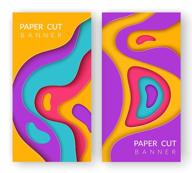 Twee verticale abstracte banners met multi gekleurd papier gesneden vormen. Premium Vector