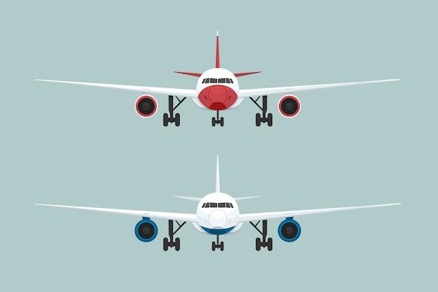 Twee vliegtuig vooraanzicht. vector illustratie Premium Vector