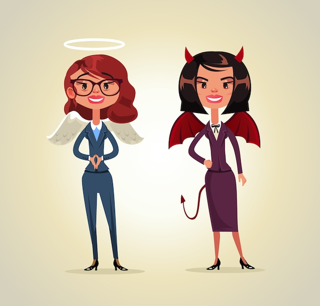 Twee vrouw kantoormedewerker bedrijfspersoon engel en demon karakters. Premium Vector