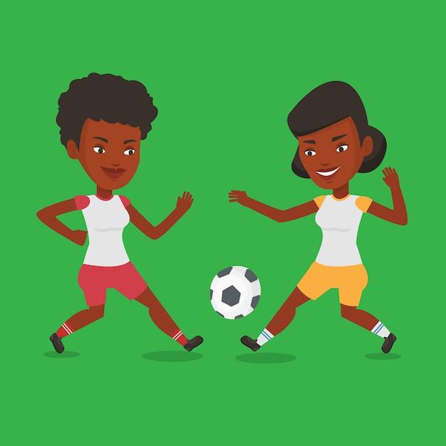 Twee vrouwelijke voetballers die voor bal vechten. Premium Vector