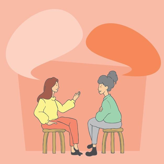Twee vrouwen praten. hand getrokken stijl vector doodle ontwerp illustraties. Premium Vector