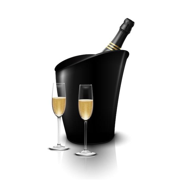 Twee wijnglas met wijnflessen champagne in een ijsemmer Premium Vector