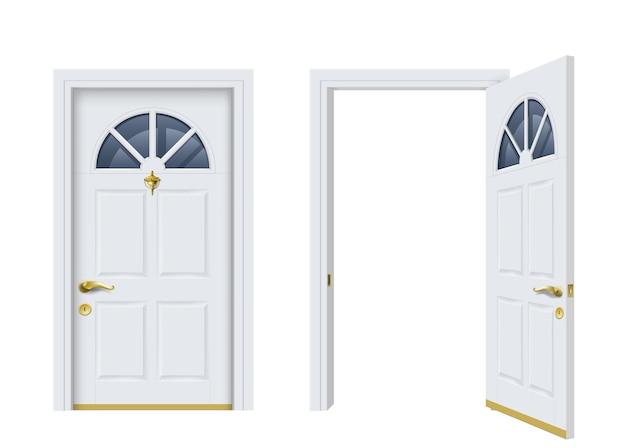 Twee witte klassieke deuren openen en sluiten. Premium Vector