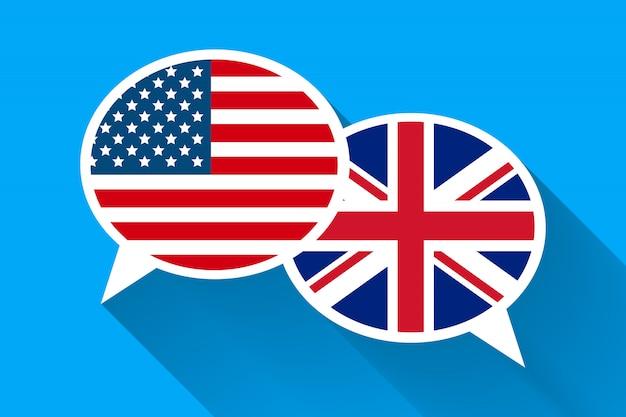 Twee witte tekstballonnen met amerikaanse en groot-brittannië vlaggen. Premium Vector