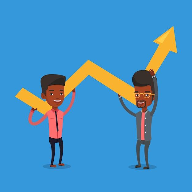 Twee zakenlieden die de groeigrafiek houden. Premium Vector