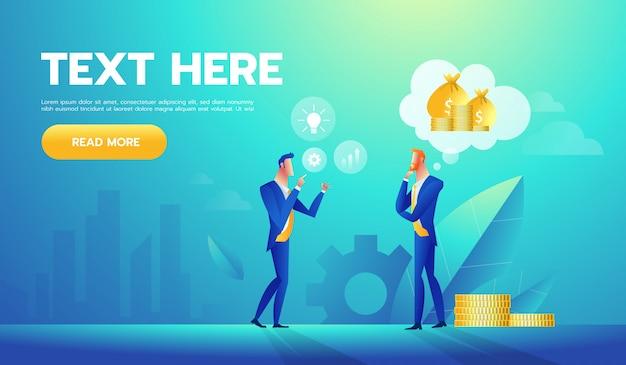 Twee zakenlieden die over geld en zaken spreken. Premium Vector