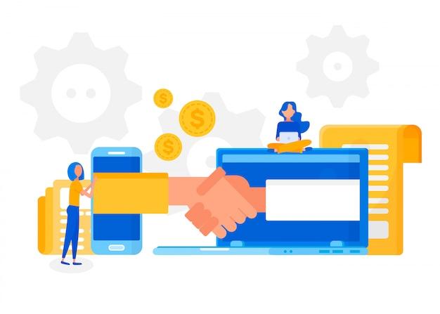 Twee zakenlieden handshaking in online vergadering. Premium Vector