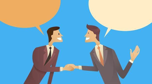 Twee zakenman hand shake Premium Vector