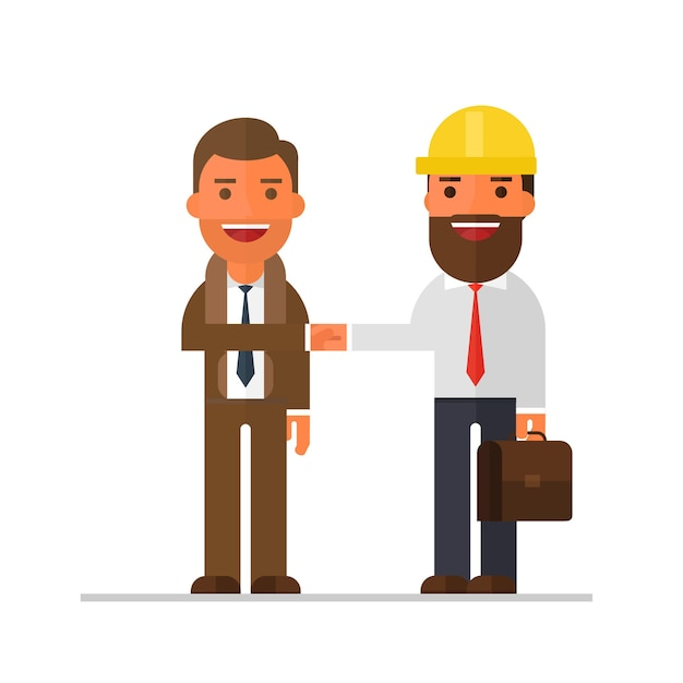 Twee zakenman talking and shakes hand Premium Vector