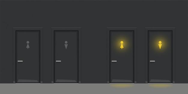 Twee zwarte wc-deuren op zwarte muur Premium Vector