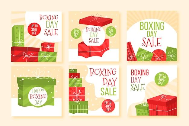 Tweede kerstdag verkoop instagram postverzameling Gratis Vector