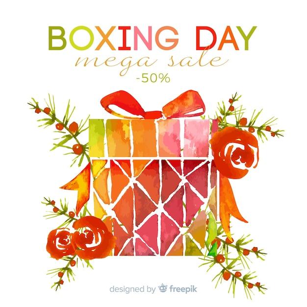 Tweede kerstdag verkoop met cadeau Gratis Vector