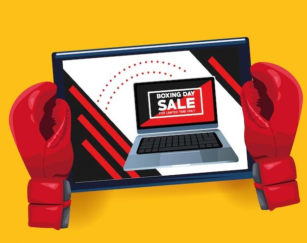 Tweede kerstdag verkoop poster met laptop en handschoenen vector illustratie ontwerp Premium Vector
