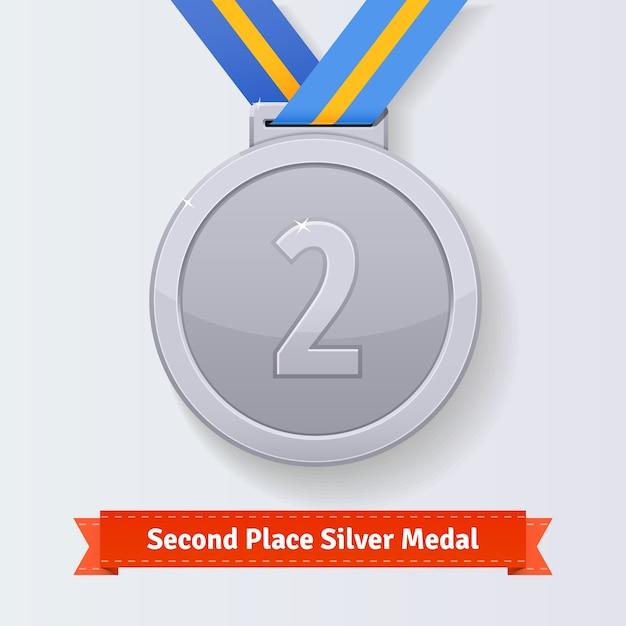 Tweede plaats award zilveren medaille met blauw lint Gratis Vector