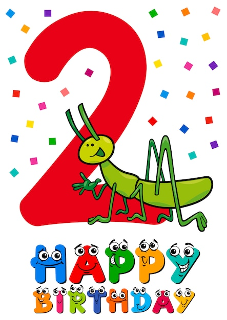 Tweede Verjaardag.Tweede Verjaardag Cartoon Kaart Premium Vector