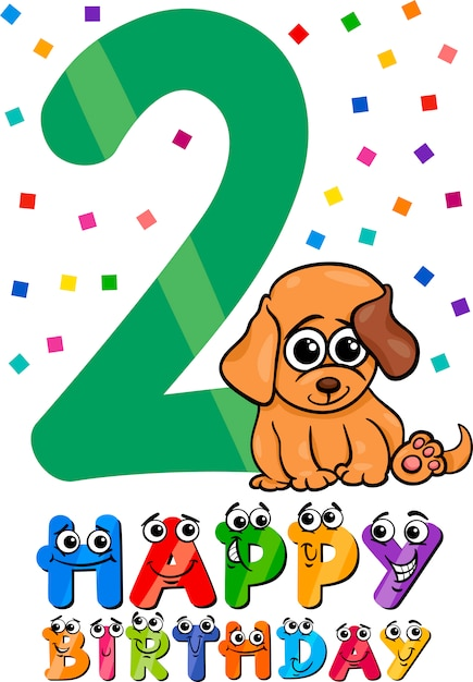 Tweede Verjaardag.Tweede Verjaardag Cartoon Ontwerp Vector Premium Download
