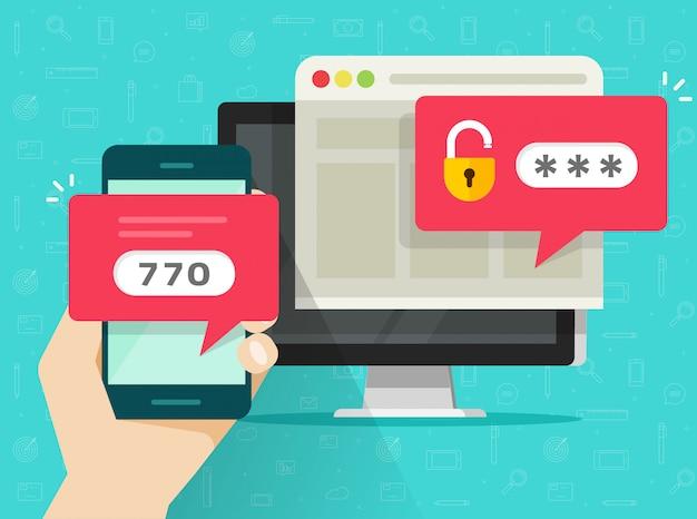 Tweestapsverificatie of tweestapsverificatiebeveiliging via mobiele telefoon of mobiele telefoon en computer Premium Vector