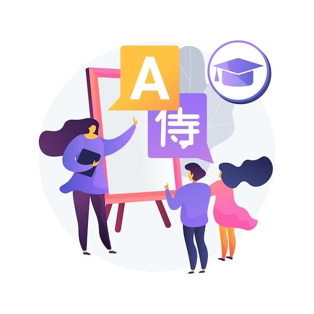 Tweetalige onderdompeling programma abstracte concept illustratie. programma voor vroege educatie, basisschool in vreemde talen, tweetalige kleuterschool, lesmethode voor onderdompeling Gratis Vector