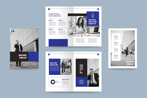Tweevoudig brochuremalplaatje met foto Gratis Vector