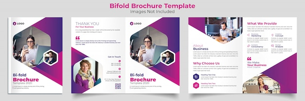 Tweevoudige brochure template Premium Vector