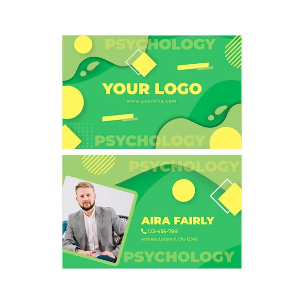 Tweezijdig visitekaartje van de psychologie Premium Vector