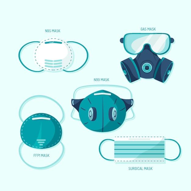 Type gezichtsmaskers instellen Gratis Vector