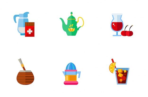 Typische drankjes iconen collectie Gratis Vector