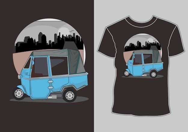 Typische indiase en indonesische transportmiddelen bajaj Premium Vector