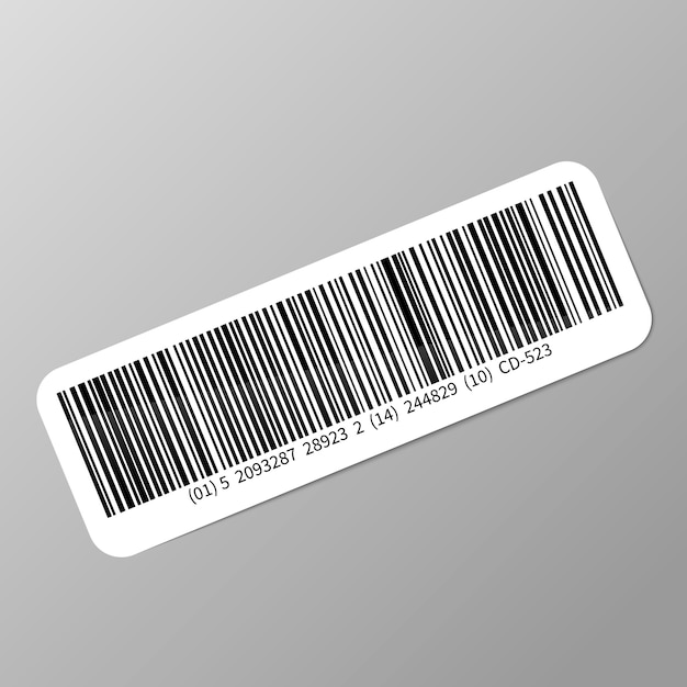 Typische realistische streepjescodesticker met schaduw op grijs Premium Vector