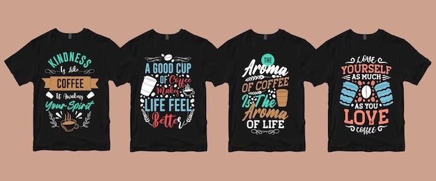Typografie belettering citeert gezegden over koffie t-shirt bundel Premium Vector