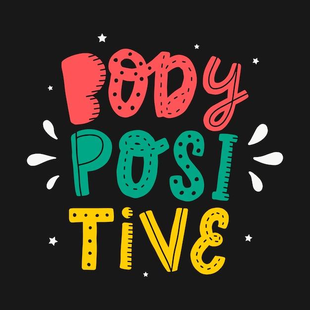 Typografie citaat 'lichaam positief' Premium Vector