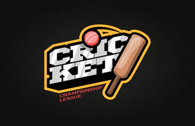 Typografie cricket sport stijl embleem en sjabloon logo met bal. Premium Vector