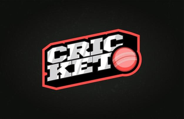 Typografie cricket sport stijl embleem logo met bal Premium Vector