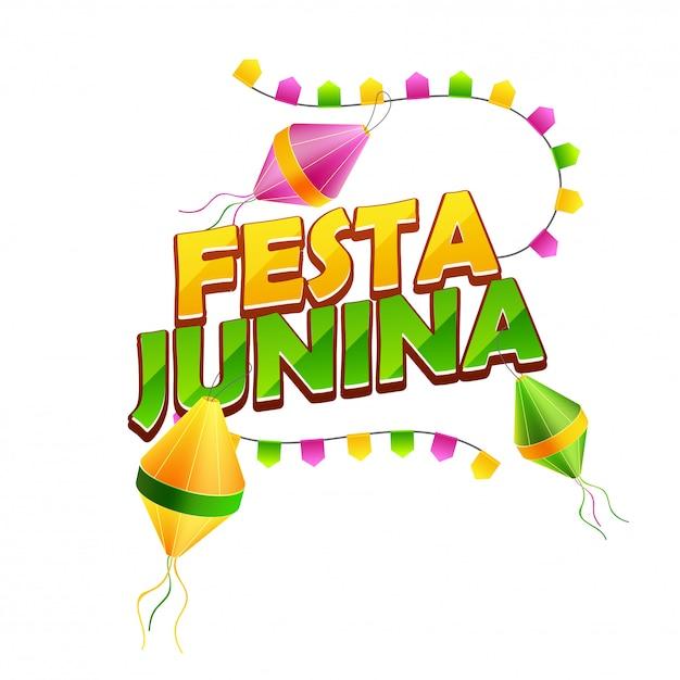 Typografie van festa junina Premium Vector