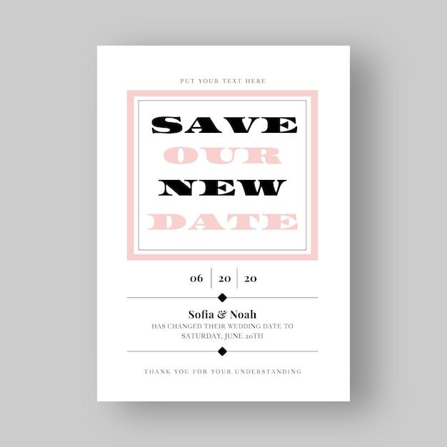 Typografische uitgestelde trouwkaart Gratis Vector