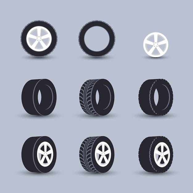 Tyre ingesteld Gratis Vector