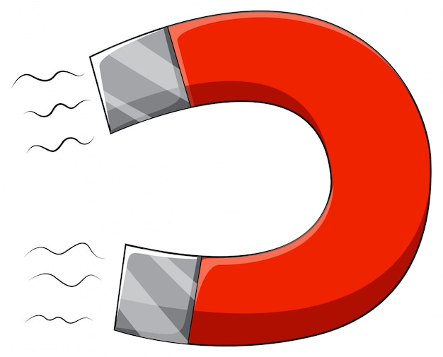 U-vormige magneet met twee palen Gratis Vector