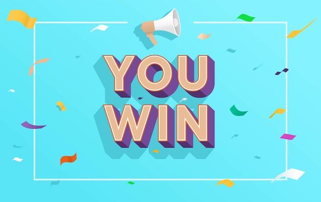 U wint de vectorillustratie van het woordconcept met megafoon en 3d stijl Premium Vector
