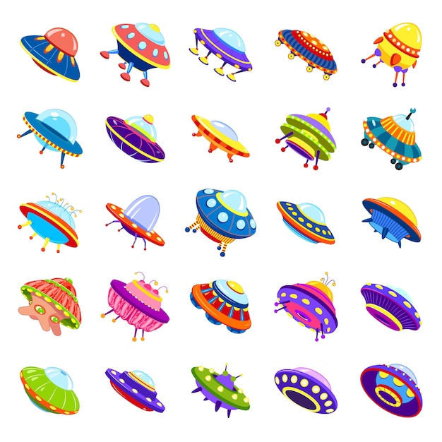 Ufo iconen set, cartoon stijl Premium Vector