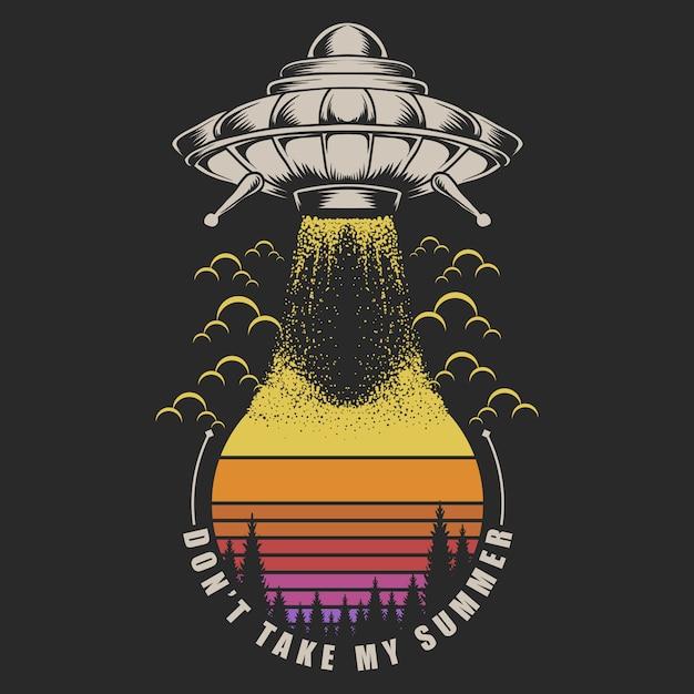 Ufo neem het op tegen zonsondergang Premium Vector