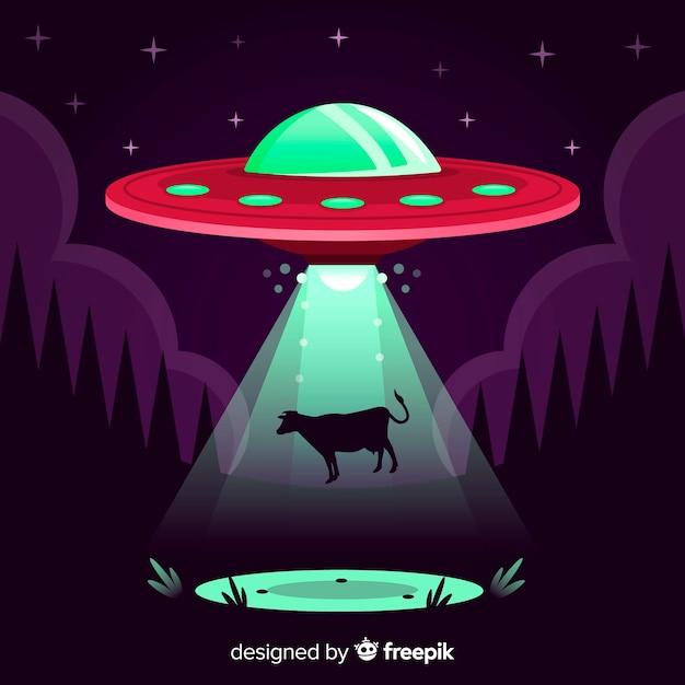 Ufo-ontvoeringsconcept met plat ontwerp Gratis Vector